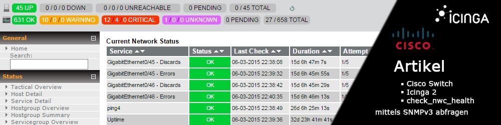 Cisco Switch mit Icinga 2 und check_nwc_health mittels SNMPv3 abfragen